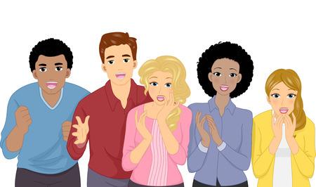 aplaudiendo: Ilustración que ofrece un grupo de personas que llevan Expresiones Shocked