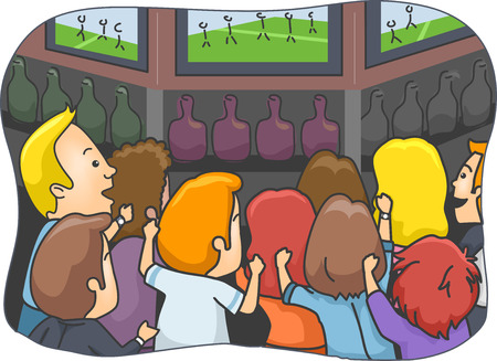 soccer fans: Illustration Featuring People Watching a Sports Event at a Pub Illustration