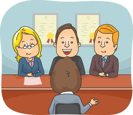 job hunting: Illustration Featuring a Man Being Questioned in a Panel Interview