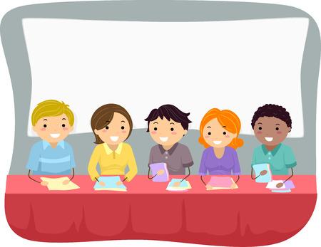 bonhomme allumette: Illustration Dot� d'un groupe de personnes se pr�parant � un groupe Interview Illustration