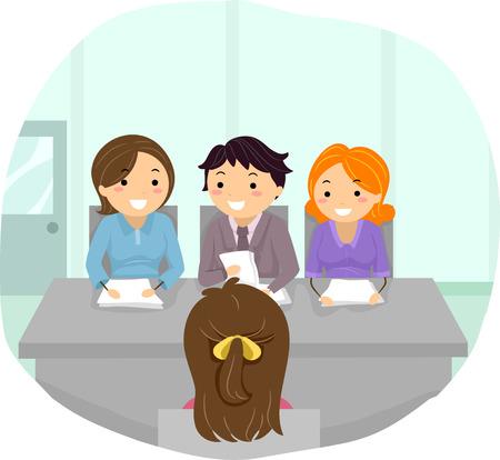 entrevista de trabajo: Ilustraci�n con una mujer a la parrilla en una entrevista de panel