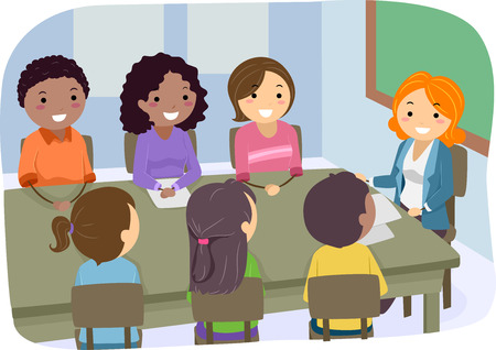 Illustration Featuring a PTA Meeting Vector