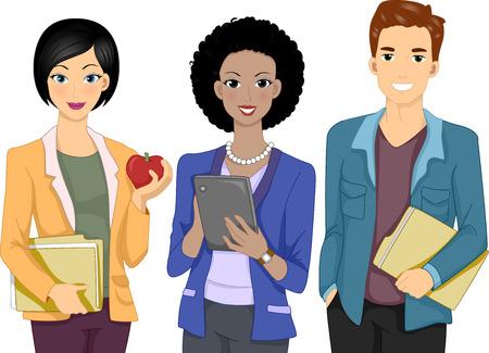 Illustratie Met een groep mensen verkleed als Teachers Stock Illustratie
