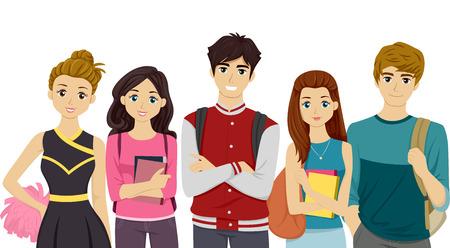 estudiante: Ilustraci�n con estudiantes que representan diferentes camarillas Universitarias