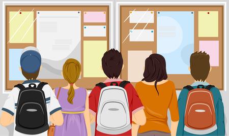 Illustratie Met een groep studenten verzameld voor een Bulletin Board Stock Illustratie