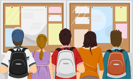 notices: Illustration Featuring a Group of Students Gathered in Front of a Bulletin Board