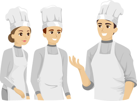 Illustration Featuring Culinary Arts Students Listening to Their Instructor Vector