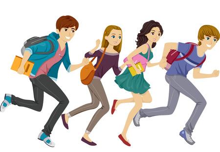 Illustratie Met Tiener Studenten Hardlopen Stock Illustratie