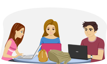 girl laptop: Illustration Featuring Teenage Students Using Their Laptops to Study