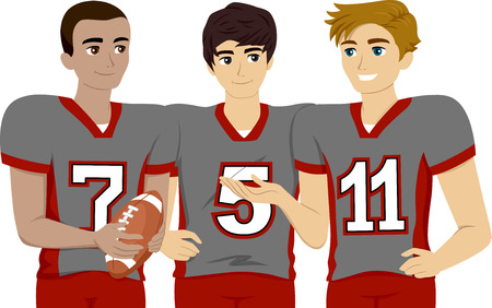 high school sports: Illustration Featuring a Group of Male Teens Wearing Football Uniform