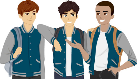 buddies: Illustration Featuring a Group of Male Teenagers Wearing Varsity Jackets