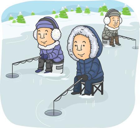 ice fishing: Ilustraci�n que ofrece un grupo de hombres Pesca en el hielo Vectores