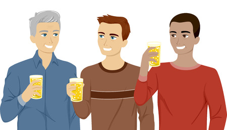 hanging out: Illustration Featuring Three Generations of Men Drinking Beer Together