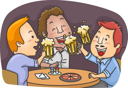 hombre tomando cerveza: Ilustración con hombres bebiendo cerveza en un bar