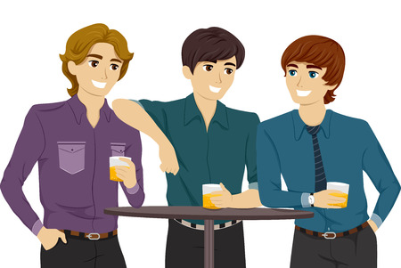 hanging out: Illustration Featuring Guys Hanging Out in a Bar Illustration