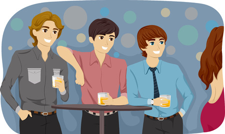 chilling out: Illustration Featuring Guys Checking Out a Girl in a Bar