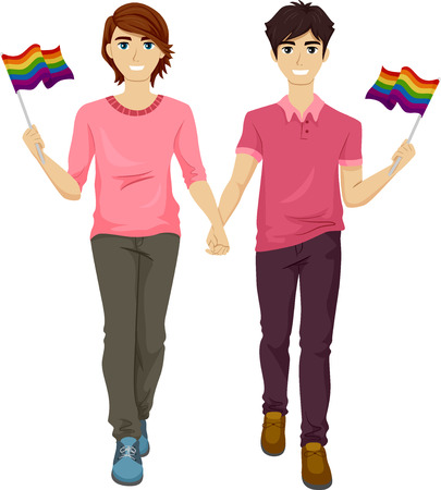 coming out: Illustration Featuring a Gay Couple Participating in a Gay Pride March