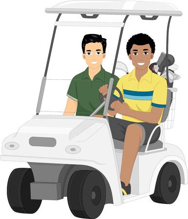 Illustratie die een paar van de mannelijke vrienden rijden op een golfkar