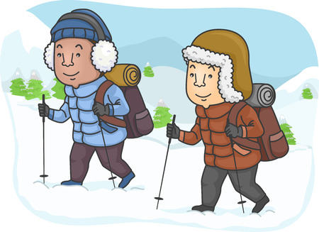 Illustration Featuring Men Hiking in a Snowy Mountain Vector