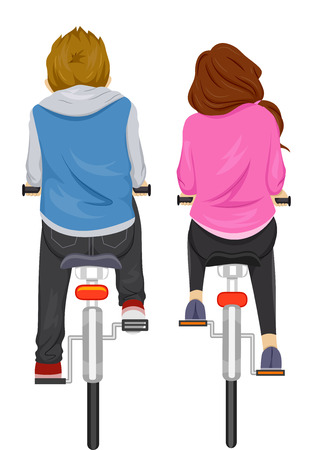 Illustration Featuring a Couple Biking Side by Side Vector