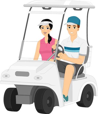 Ilustración con una pareja conduciendo un carro de golf