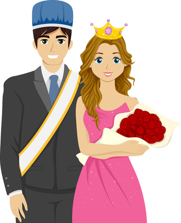 king and queen: Illustration Featuring a Couple Chosen as the Homecoming King and Queen