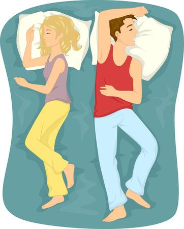 Illustratie die een paar van de slaap slapen met hun rug naar elkaar