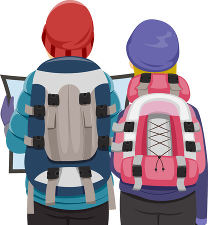 Illustration Featuring a Backpacking Couple Examining a Travel Map Vector