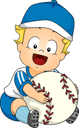Illustration Featuring a Cute Baby Holding a Giant Baseball Vector
