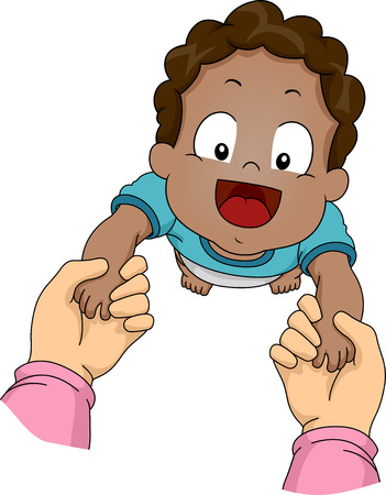 teaching children: Illustration Featuring an African-American Baby Being Guided Through His First Steps