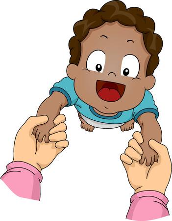 Ilustración con un bebé afroamericano ser guiado a través sus primeros pasos