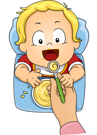 baby feeding: Illustration Featuring a Baby Boy Being Fed with Instant Cereal