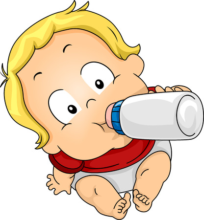 child looking up: Illustration Featuring a Baby Drinking Milk From a Bottle