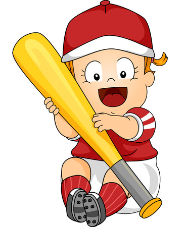 Illustration Featuring a Female Baby Holding a Baseball Bat Vector