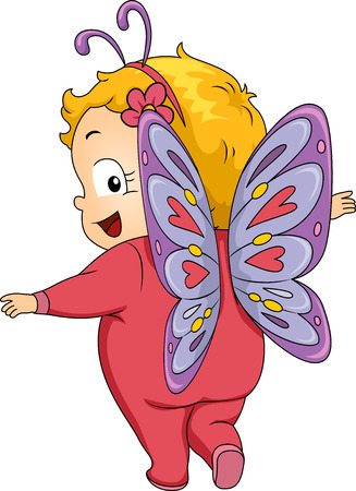 cosplay: Illustration Featuring a Baby Girl Wearing a Butterfly Costume
