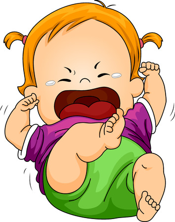 tot: Illustration Featuring a Baby Throwing a Tantrum