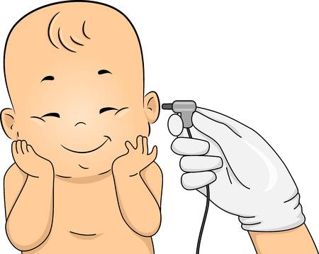 아기를 갖춘 그림 신생아 선별 검사의 대상이 되