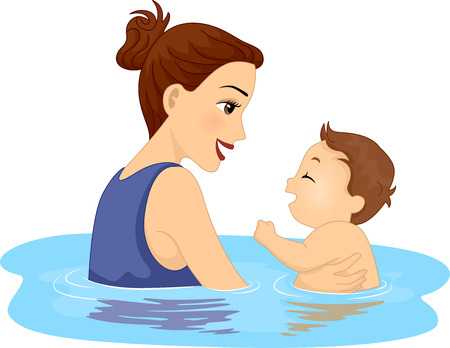 baby swim: Illustration Featuring a Mother and Her Son Taking a Swim
