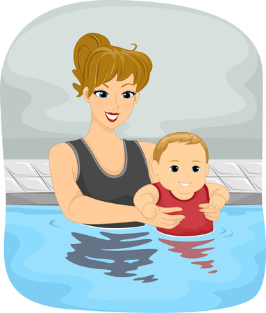 Illustration Featuring a Mother and Her Son Taking a Swim Vector