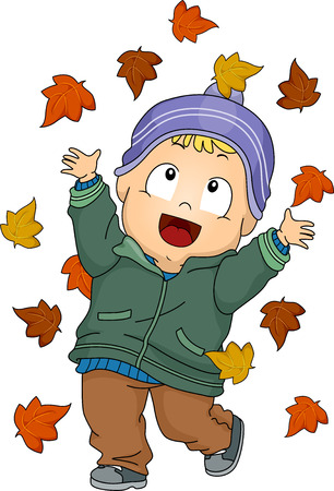 tot: Illustration Featuring a Baby Boy Playing with Autumn Leaves