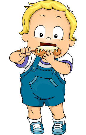 Illustration Featuring a Baby Boy Eating a Corn Dog Vector