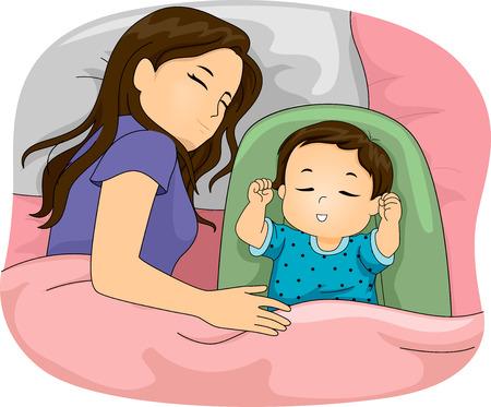 Illustration mettant en vedette une mère et sa fille dormant Vecteurs