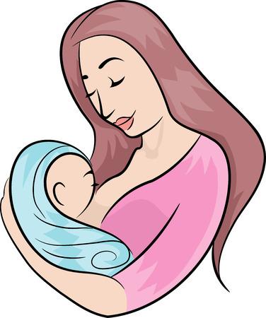 Illustrazione con una madre che allatta il suo bambino appena nato