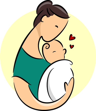 cradle: Illustration Featuring a New Mother Cradling Her Baby Illustration