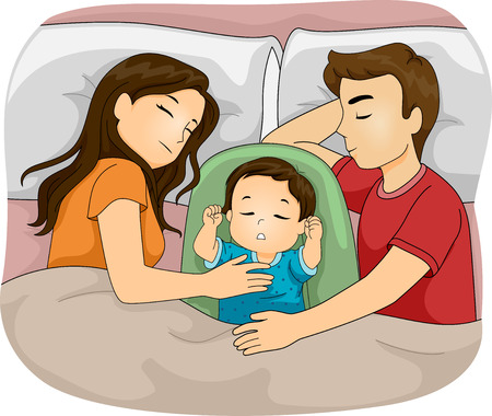 Illustration Featuring a Family Sleeping Together Vector