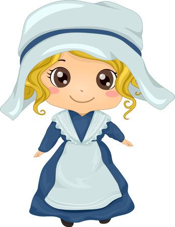 Illustratie Met een meisje dragen van een Franse Kostuum