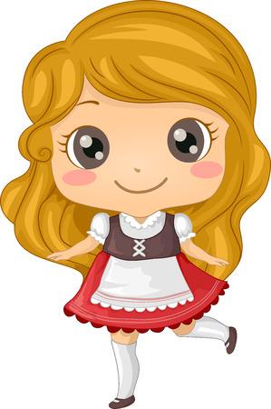 독일의 의상을 입고 소녀를 갖춘 그림 일러스트