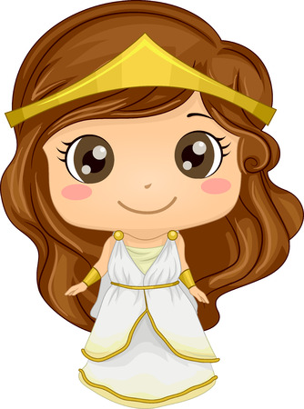 kids costume: Illustration Featuring a Girl Wearing a Greek Costume