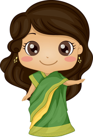 indian art: Illustration Featuring a Girl Wearing an Indian Costume