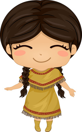 featuring: Illustration Featuring a Girl Wearing a Native American Costume
